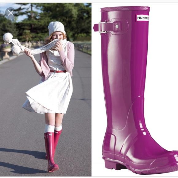 c717b0ffbc87 Hunter Shoes   Bright Violet Tall Gloss Rain Boots Size 8   Poshmark